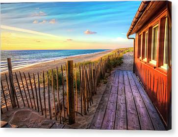 Cottage By The Sea Canvas Print by Debra and Dave Vanderlaan
