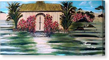 Canvas Print featuring the painting Cottage By The Sea by Sherri  Of Palm Springs