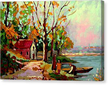 Cottage Country The Eastern Townships A Romantic Summer Landscape Canvas Print by Carole Spandau