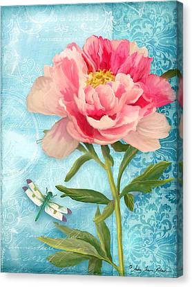 Damselfly Canvas Print - Cottage Garden Pink Peony W Dragonfly by Audrey Jeanne Roberts