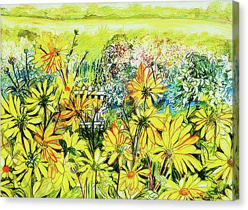 Cottage Gate Seen Through Sun Daisies Canvas Print by Joan Thewsey