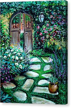 Canvas Print featuring the pastel Cottage Gates by Elizabeth Robinette Tyndall