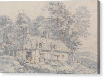 Cottages Canvas Print - Cottage In Herefordshire by David Cox
