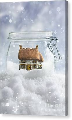 Cottage In Snow Canvas Print