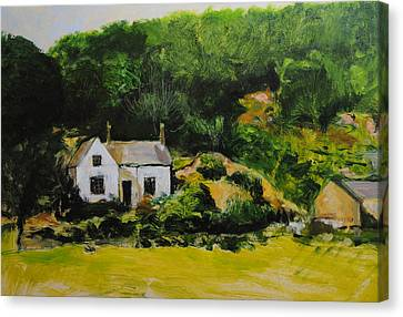 Canvas Print featuring the painting Cottage In Wales by Harry Robertson