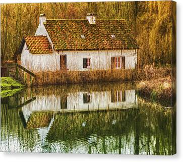 Cottage Reflection Canvas Print by Wim Lanclus