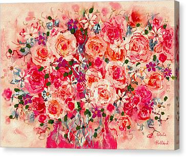 Climbing Canvas Print - Cottage Roses by Natalie Holland