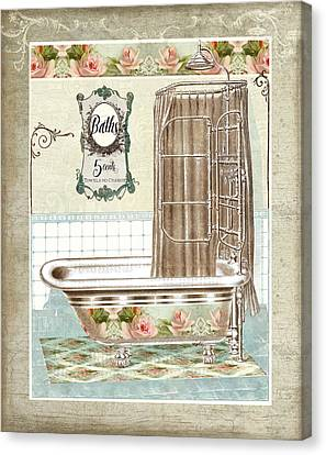Rose Patterned Curtains Canvas Print - Cottage Roses - Victorian Claw Foot Tub Bathroom Art by Audrey Jeanne Roberts