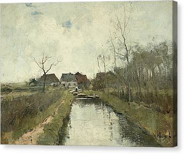 Cottage To A Ditch Canvas Print by Anton Mauve