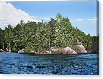 Canvas Print featuring the painting Cottage View Silver Lake by Kenneth M Kirsch