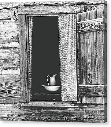 Cottage Window - Bw Canvas Print