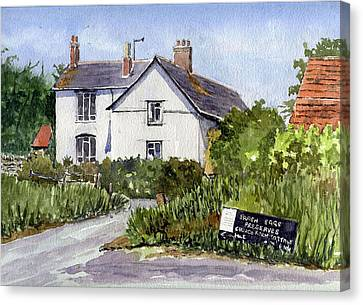 Cottages At Binsey. Nr Oxford Canvas Print by Mike Lester