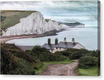 Seaford Canvas Print - Cottages At Seven Sisters - England by Joana Kruse