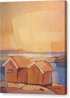 Cottages Seascape Canvas Print