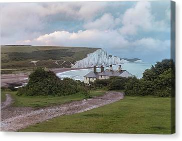 Seaford Canvas Print - cottages Seven Sisters - England by Joana Kruse