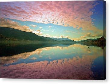 Canvas Print featuring the photograph Cotton Candy Clouds At Skaha Lake by Tara Turner