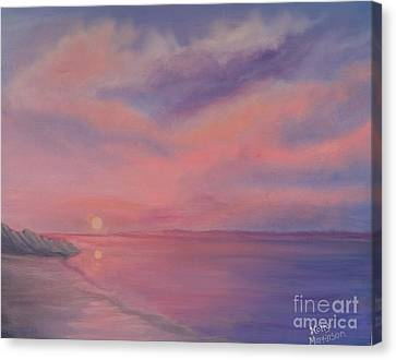 Canvas Print featuring the painting Cotton Candy Sky by Holly Martinson