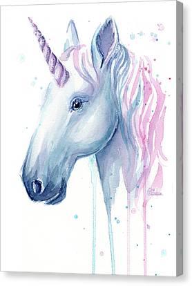Unicorn Canvas Print - Cotton Candy Unicorn by Olga Shvartsur