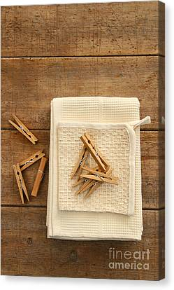 Cotton Dish Towel With Clothes Pins Canvas Print by Sandra Cunningham