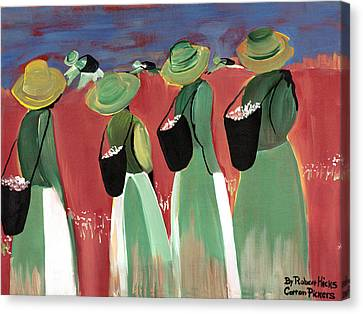 Cotton Pickers Canvas Print by Robert Lee Hicks