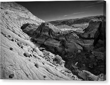 Cottonwood Creek Strange Rocks 7 Bw Canvas Print