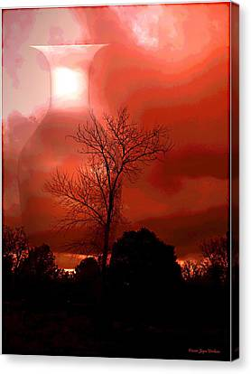Canvas Print featuring the photograph Cottonwood Crimson Sunset by Joyce Dickens