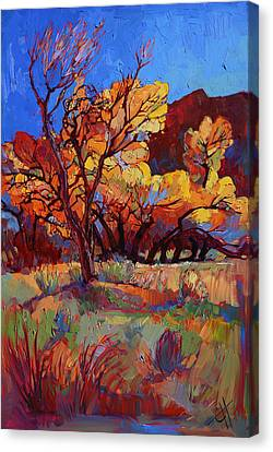 Autumn Leaf Canvas Print - Cottonwood Flame by Erin Hanson