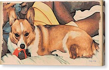 Canvas Print featuring the digital art Couch Corgi Chewing A Ball by Kathy Kelly