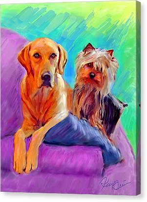 Dogs Canvas Print - Couch Potatoes by Karen Derrico