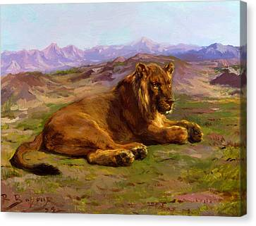 Couching Canvas Print - Couching Lion 1872 by Bonheur Rosa