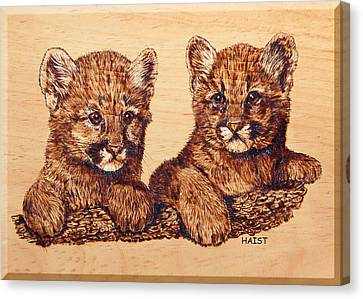 Canvas Print featuring the pyrography Cougar Cubs by Ron Haist