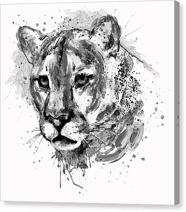 Modern Digital Art Canvas Print - Cougar Head Black And White by Marian Voicu