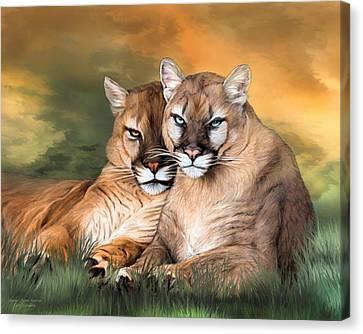 Cougar - Spirit Warrior Canvas Print by Carol Cavalaris