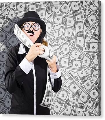 Counterfeit Printing Rolls Of American Money Canvas Print
