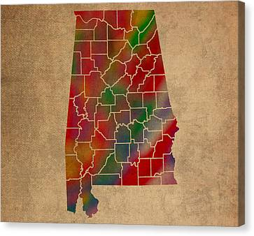 Old Canvas Print - Counties Of Alabama Colorful Vibrant Watercolor State Map On Old Canvas by Design Turnpike