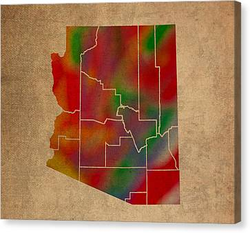 Arizona Canvas Print - Counties Of Arizona Colorful Vibrant Watercolor State Map On Old Canvas by Design Turnpike