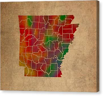 Counties Of Arkansas Colorful Vibrant Watercolor State Map On Old Canvas Canvas Print