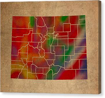 Old Canvas Print - Counties Of Colorado Colorful Vibrant Watercolor State Map On Old Canvas by Design Turnpike