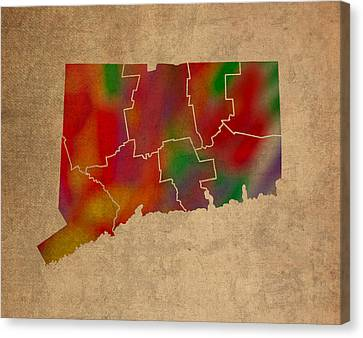 Old Canvas Print - Counties Of Connecticut Colorful Vibrant Watercolor State Map On Old Canvas by Design Turnpike