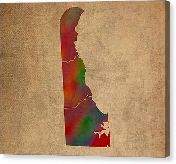 Old Canvas Print - Counties Of Delaware Colorful Vibrant Watercolor State Map On Old Canvas by Design Turnpike