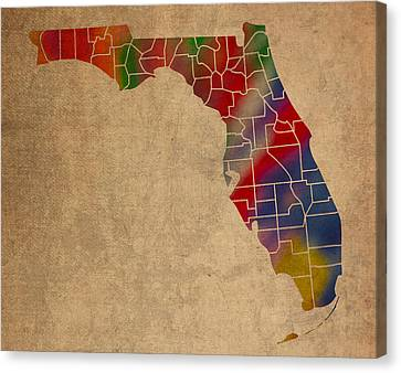 Old Canvas Print - Counties Of Florida Colorful Vibrant Watercolor State Map On Old Canvas by Design Turnpike