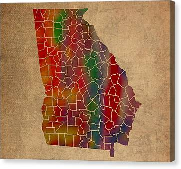 Old Canvas Print - Counties Of Georgia Colorful Vibrant Watercolor State Map On Old Canvas by Design Turnpike