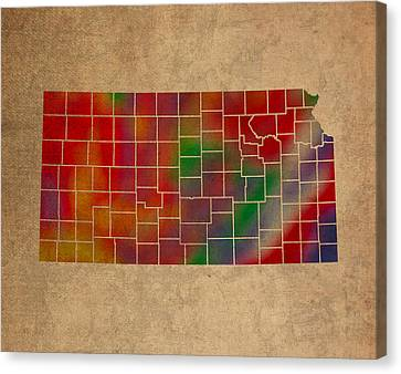 Old Canvas Print - Counties Of Kansas Colorful Vibrant Watercolor State Map On Old Canvas by Design Turnpike