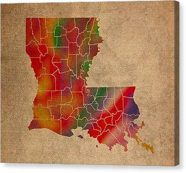 Old Canvas Print - Parishes Of Louisiana Colorful Vibrant Watercolor State Map On Old Canvas by Design Turnpike