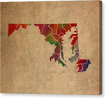 Counties Of Maryland Colorful Vibrant Watercolor State Map On Old Canvas Canvas Print by Design Turnpike