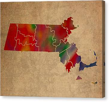 Old Canvas Print - Counties Of Massachusetts Colorful Vibrant Watercolor State Map On Old Canvas by Design Turnpike