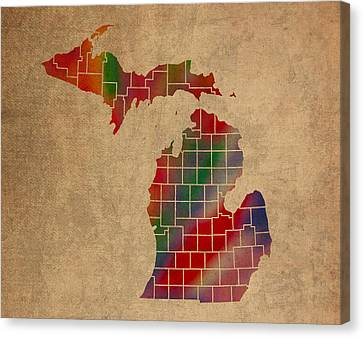 Old Canvas Print - Counties Of Michigan Colorful Vibrant Watercolor State Map On Old Canvas by Design Turnpike