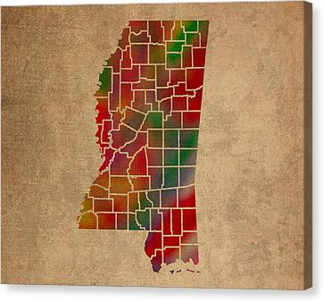 Old Canvas Print - Counties Of Mississippi Colorful Vibrant Watercolor State Map On Old Canvas by Design Turnpike