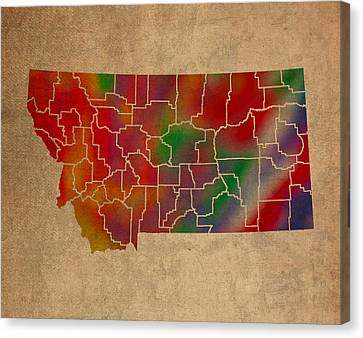 Counties Of Montana Colorful Vibrant Watercolor State Map On Old Canvas Canvas Print