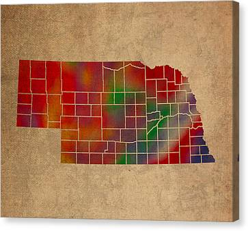 Old Canvas Print - Counties Of Nebraska Colorful Vibrant Watercolor State Map On Old Canvas by Design Turnpike
